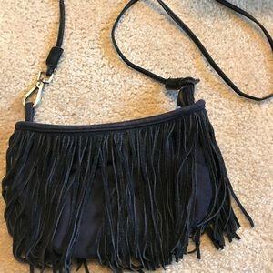Black fringe cross body bag